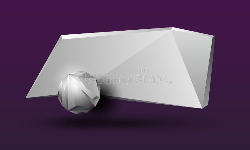 Bandera poligonal gris 3D para el texto Marco rectangular geométrico poligonal abstracto con una molécula ilustración del vector