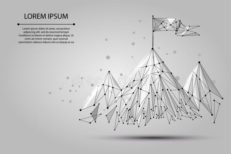 Bandera polivinílica baja del wireframe en el top de la montaña Éxito en símbolo del negocio, del top o de la meta libre illustration