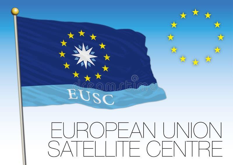 Bandera por satélite del centro de la unión europea, unión europea libre illustration