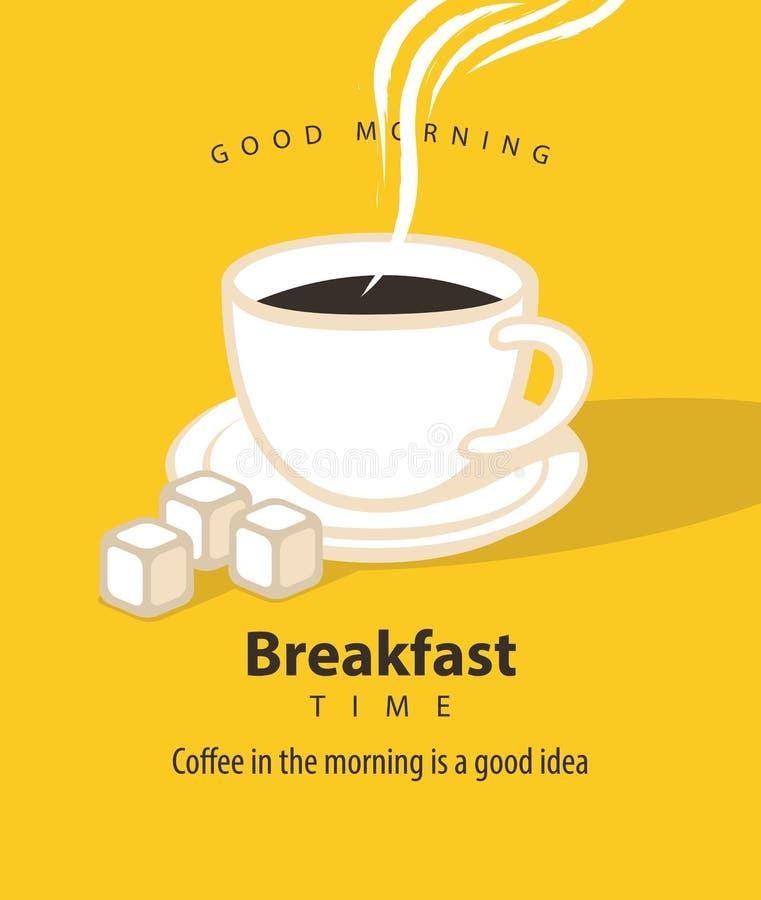 Bandera por tiempo de desayuno con una taza de café libre illustration