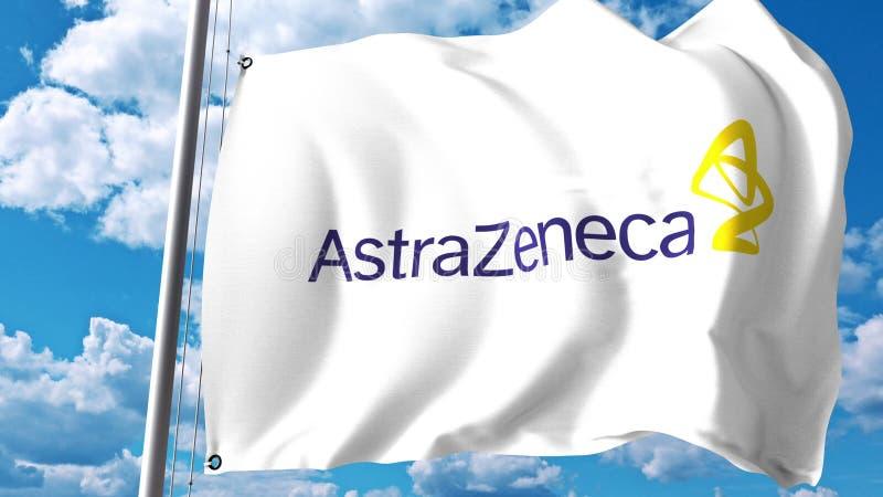 Bandera que agita con el logotipo de AstraZeneca contra las nubes y el cielo Representación editorial 3D ilustración del vector