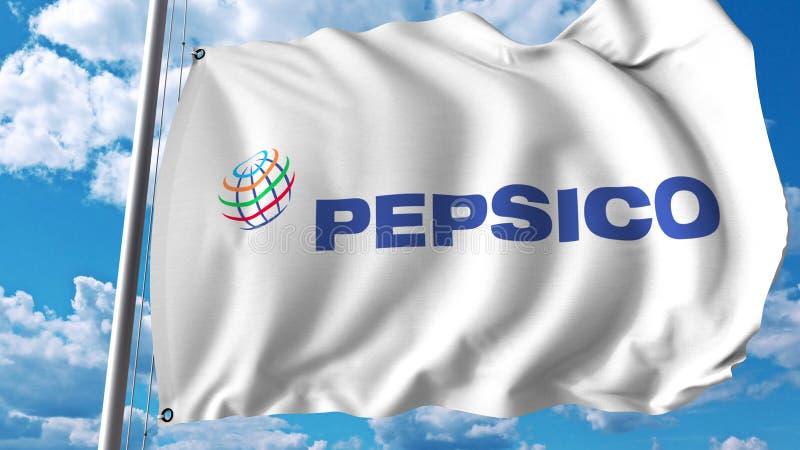 Bandera que agita con el logotipo de Pepsico Representación de Editoial 3D stock de ilustración