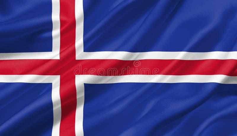 Bandera que agita con el viento, de Islandia ejemplo 3D stock de ilustración