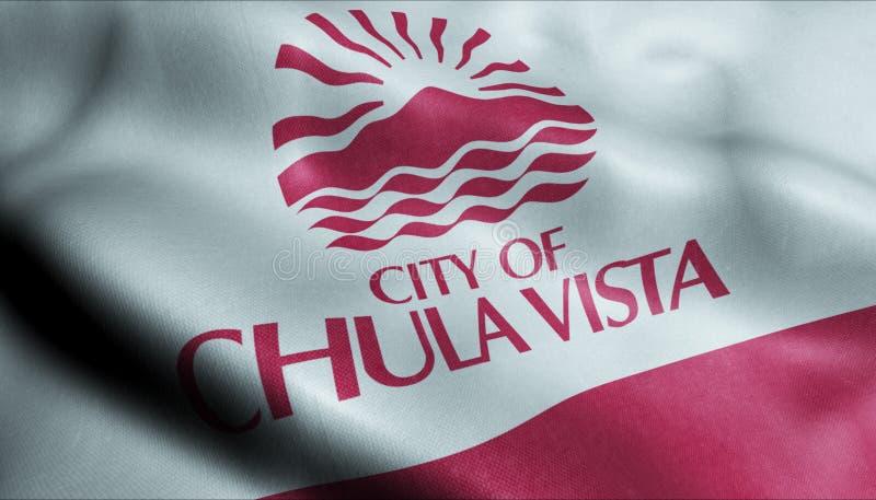 bandera que agita 3D de la opinión del primer de la ciudad de Chula Vista ilustración del vector