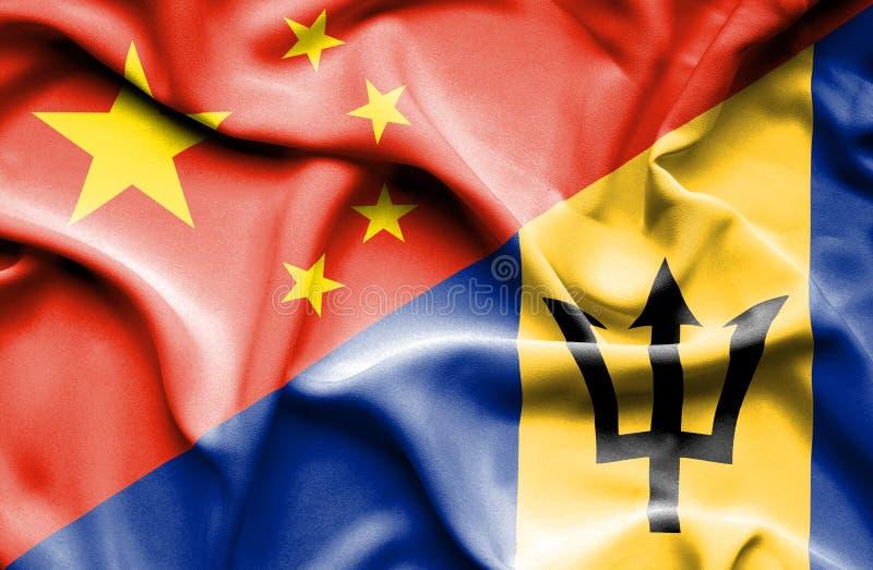 Bandera que agita de Barbados y de China libre illustration
