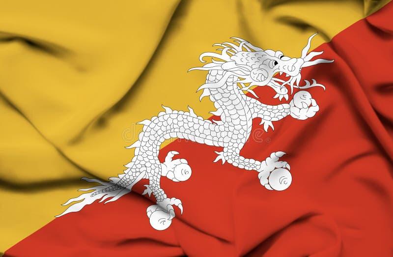 Bandera que agita de Bhut?n ilustración del vector