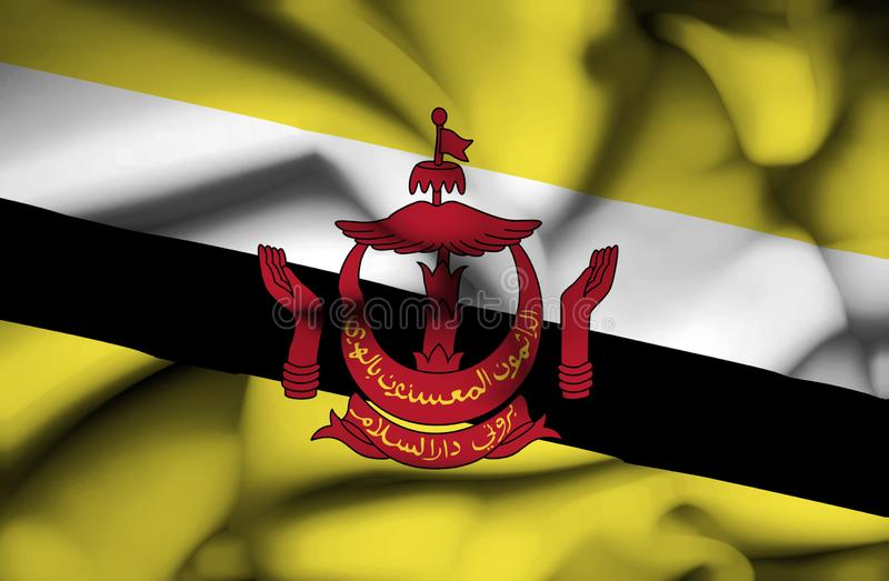 Bandera que agita de Brunei ilustración del vector