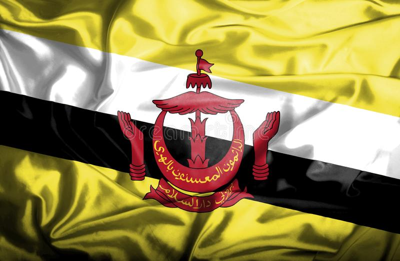 Bandera que agita de Brunei stock de ilustración