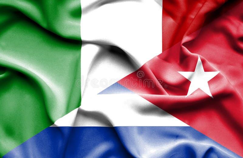 Bandera que agita de Cuba y de Italia ilustración del vector