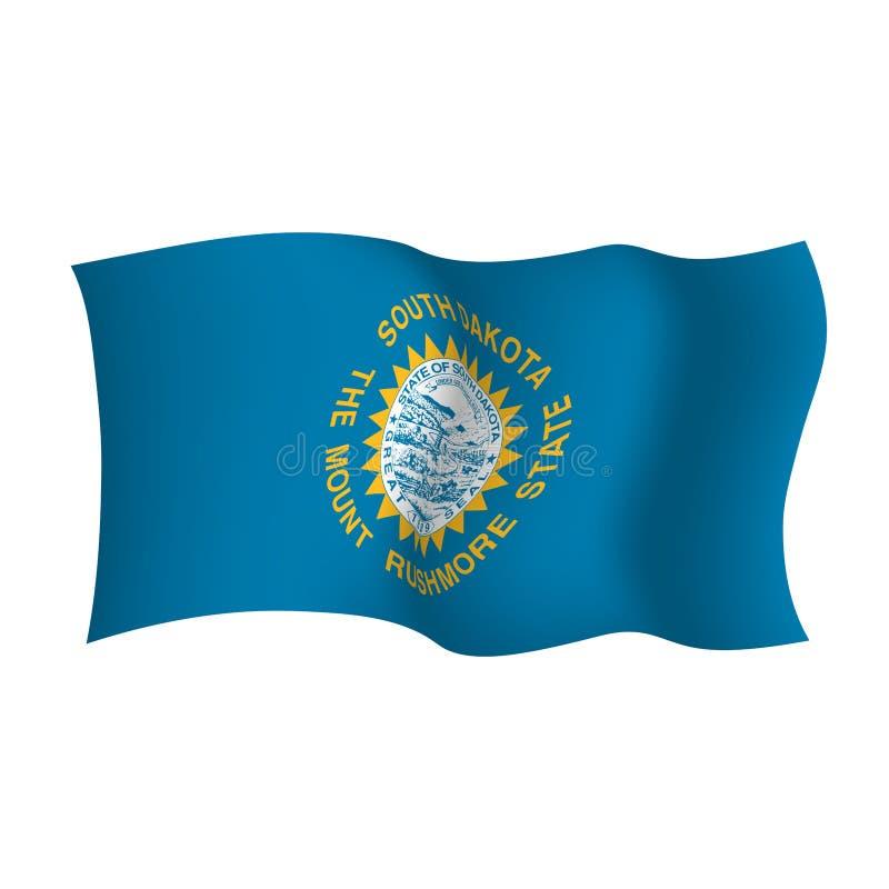 Bandera que agita de Dakota del Sur El estado del monte Rushmore Ilustraci?n del vector Los Estados Unidos de Am?rica stock de ilustración