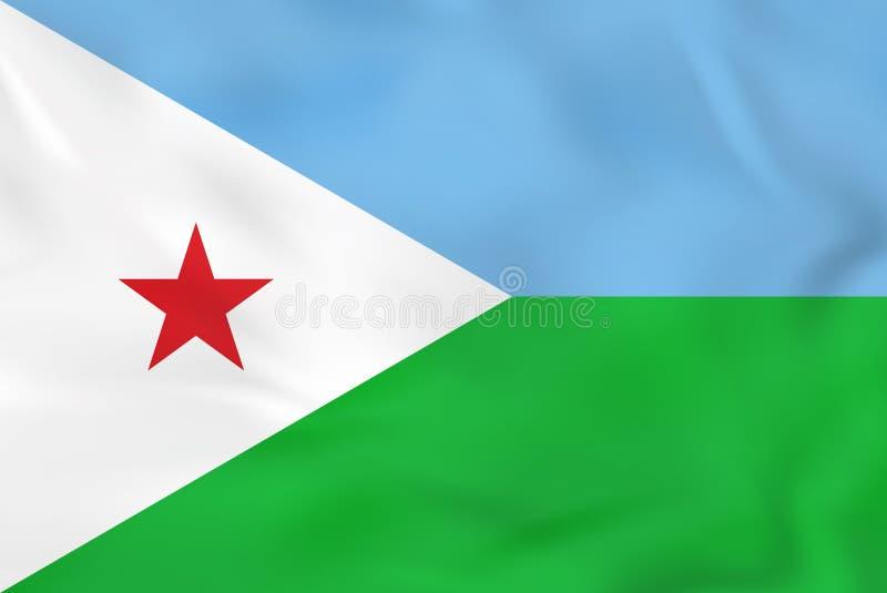 Bandera que agita de Djibouti Textura del fondo de la bandera nacional de Djibouti ilustración del vector