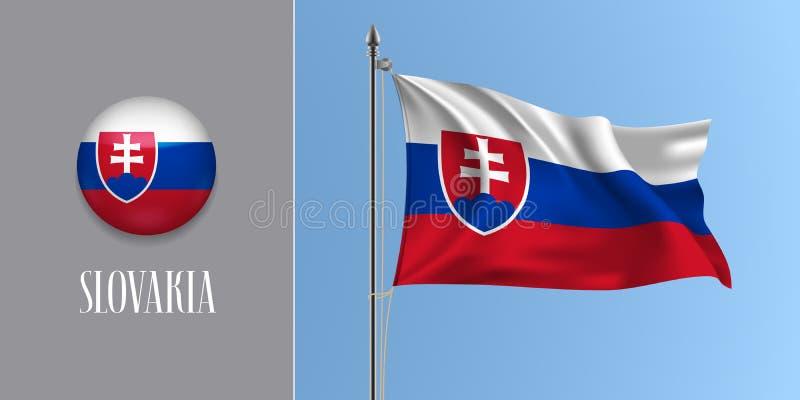 Bandera que agita de Eslovaquia en asta de bandera y el ejemplo redondo del vector del icono libre illustration