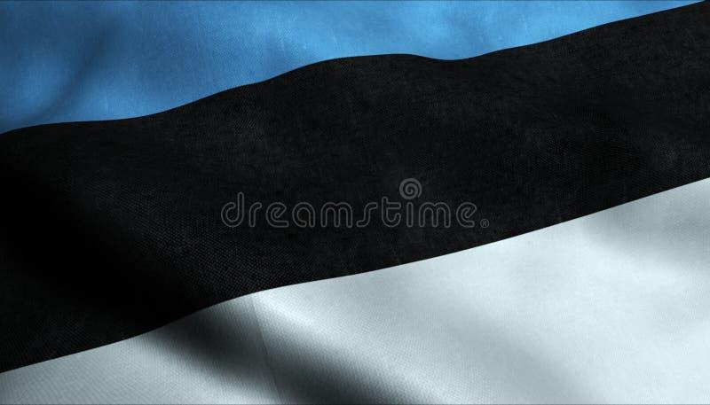 Bandera que agita de Estonia en 3D ilustración del vector