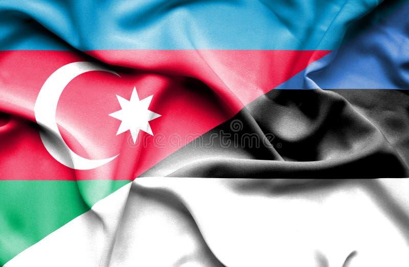 Bandera que agita de Estonia y de Azerbaijan libre illustration