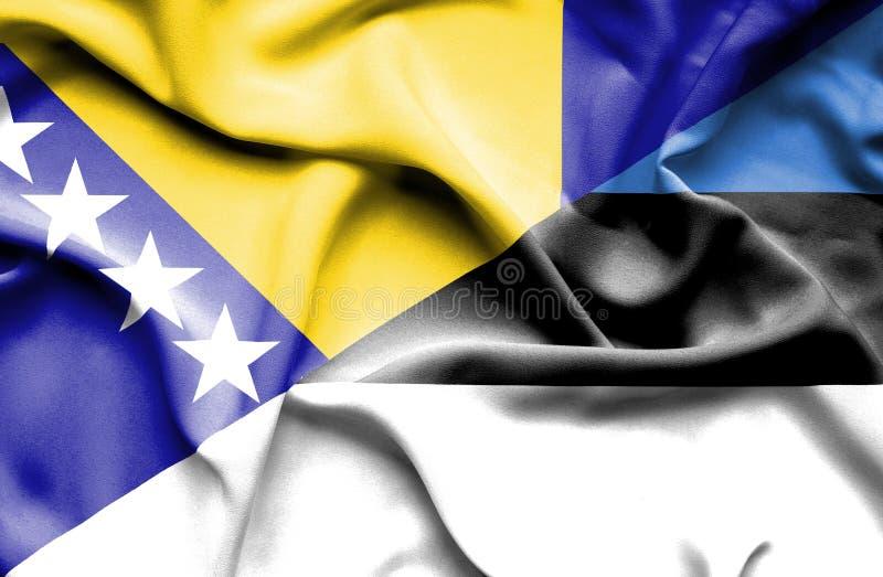 Bandera que agita de Estonia y de Bosnia y Herzegovina ilustración del vector