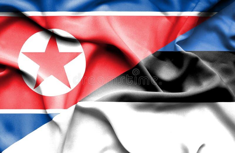 Bandera que agita de Estonia y de Corea del Norte  libre illustration