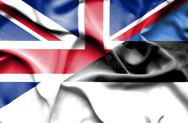 Bandera que agita de Estonia y de Gran Bretaña stock de ilustración