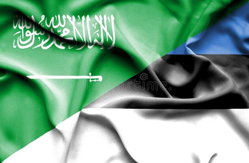 Bandera que agita de Estonia y de la Arabia Saudita libre illustration