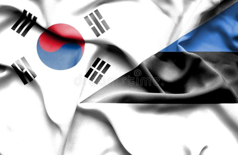 Bandera que agita de Estonia y de la Corea del Sur ilustración del vector