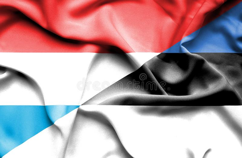 Bandera que agita de Estonia y de Luxemburgo stock de ilustración