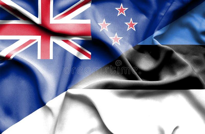 Bandera que agita de Estonia y de Nueva Zelanda stock de ilustración