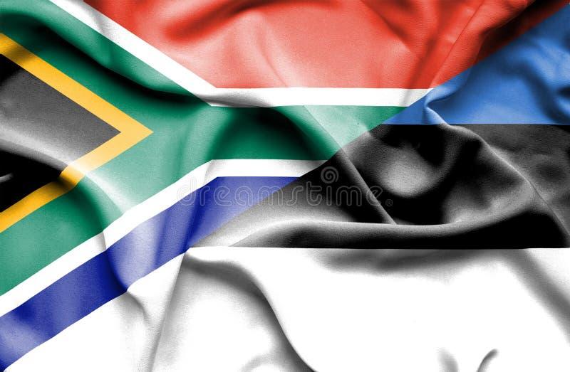 Bandera que agita de Estonia y de Suráfrica ilustración del vector