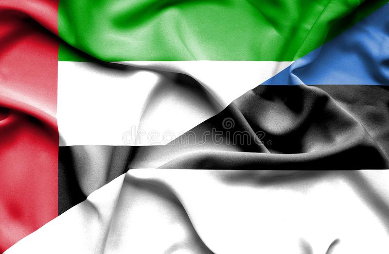 Bandera que agita de Estonia y de United Arab Emirates libre illustration