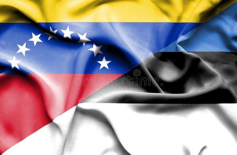 Bandera que agita de Estonia y de Venezuela libre illustration