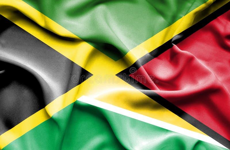 Bandera que agita de Guyana y ilustración del vector