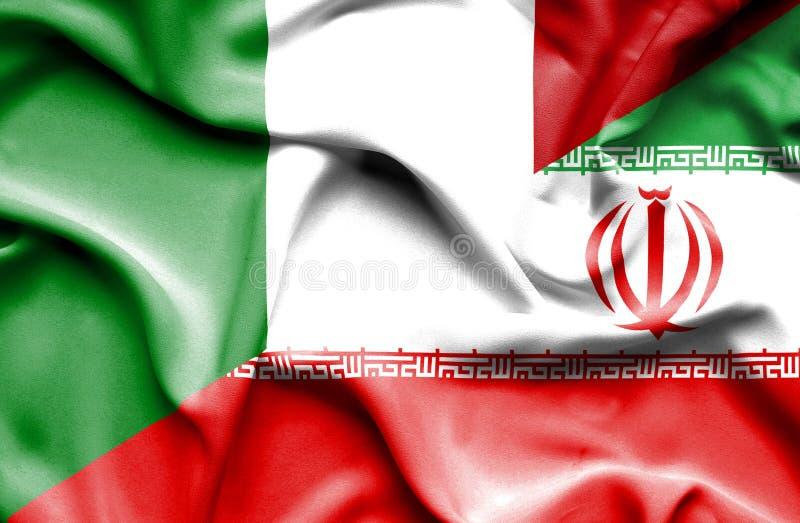 Bandera que agita de Irán y de Italia stock de ilustración