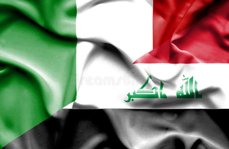 Bandera que agita de Iraq y de Italia libre illustration