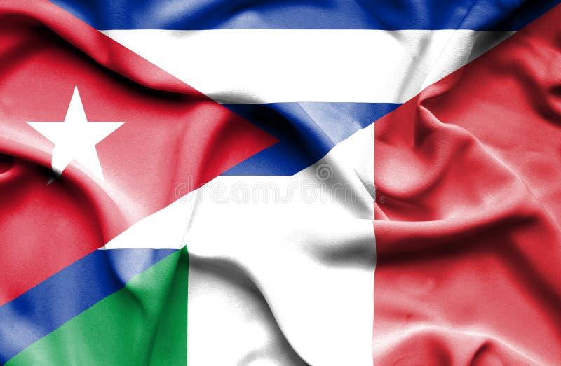 Bandera que agita de Italia y de Cuba stock de ilustración