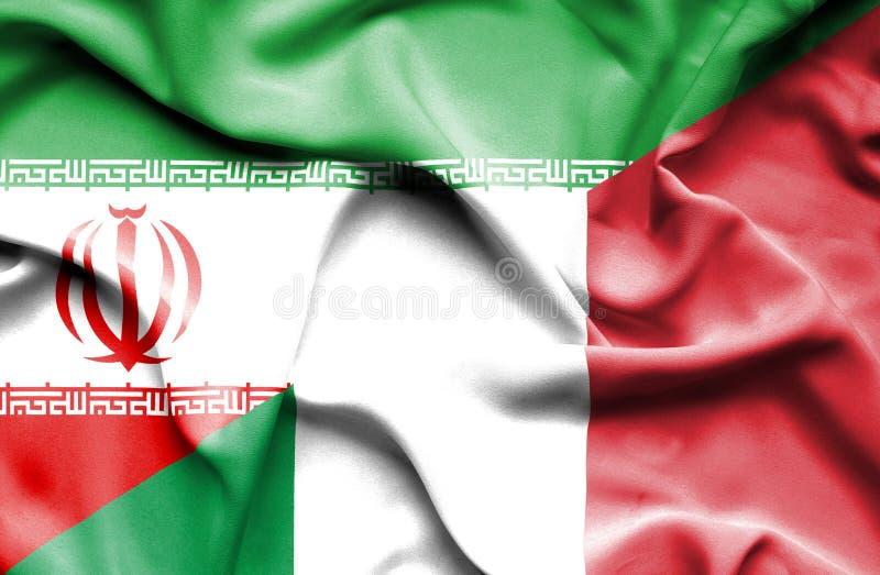 Bandera que agita de Italia y de Irán ilustración del vector