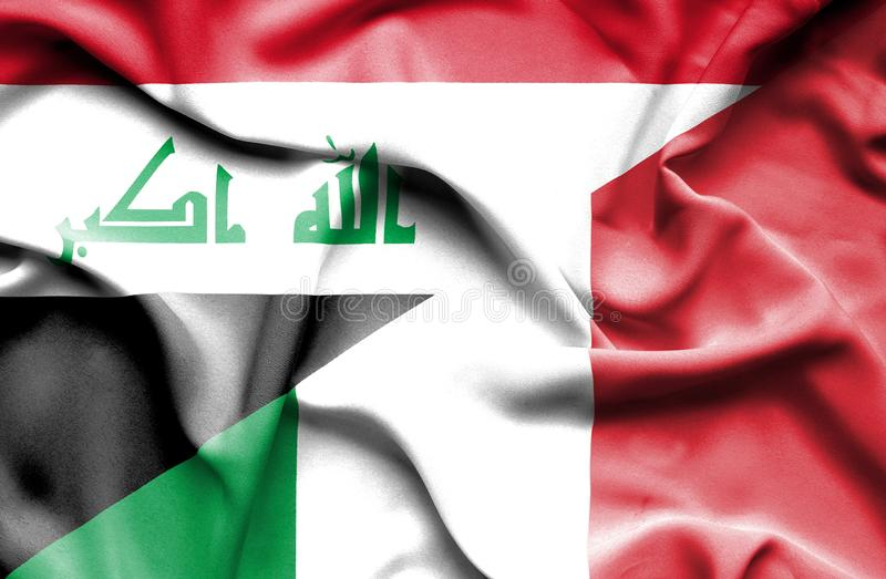Bandera que agita de Italia y de Iraq stock de ilustración