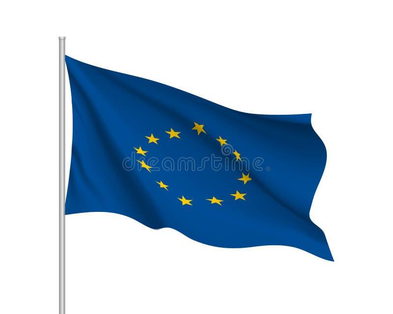 Bandera que agita de la unión europea stock de ilustración