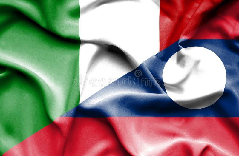 Bandera que agita de Laos y de Italia ilustración del vector