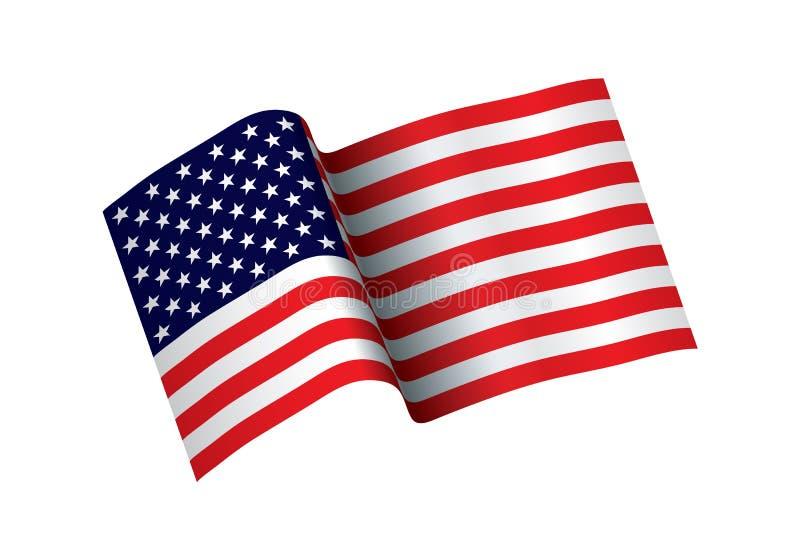Bandera que agita de los Estados Unidos de América ejemplo de la bandera americana ondulada para el Día de la Independencia Vecto stock de ilustración