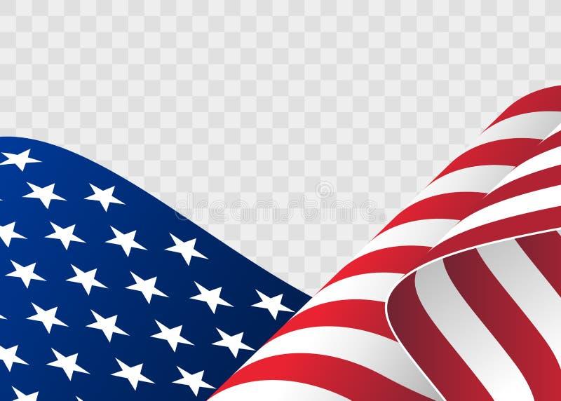 Bandera que agita de los Estados Unidos de América ejemplo de la bandera americana ondulada para el Día de la Independencia stock de ilustración