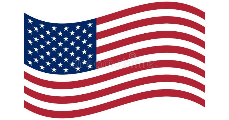 Bandera que agita de los Estados Unidos de Am?rica ejemplo de la bandera americana ondulada para el D?a de la Independencia libre illustration