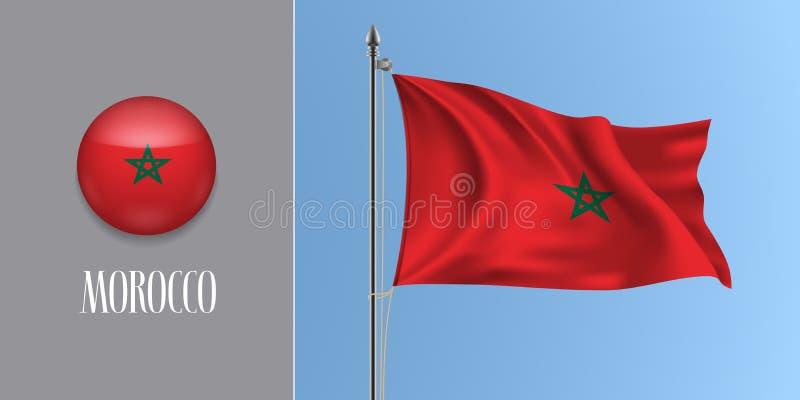 Bandera que agita de Marruecos en asta de bandera y el ejemplo redondo del vector del icono libre illustration