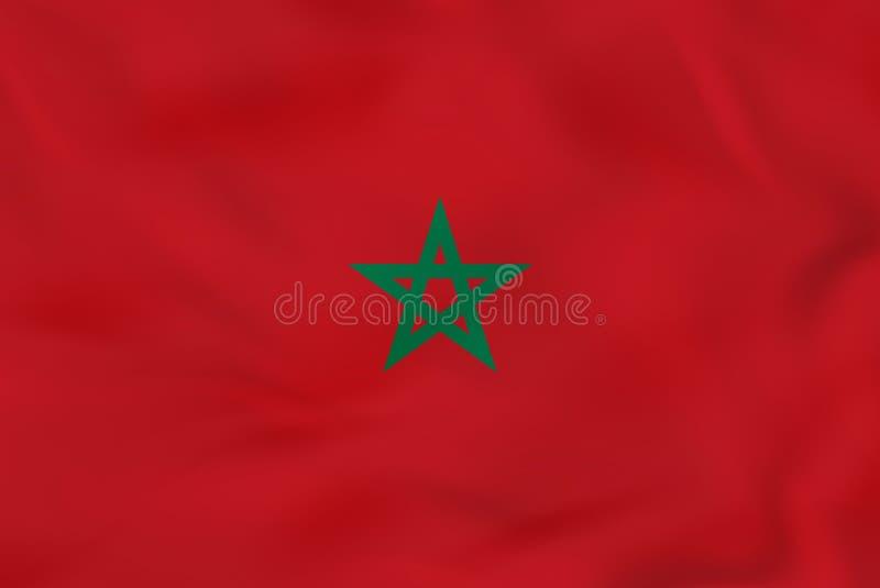 Bandera que agita de Marruecos Textura del fondo de la bandera nacional de Marruecos ilustración del vector