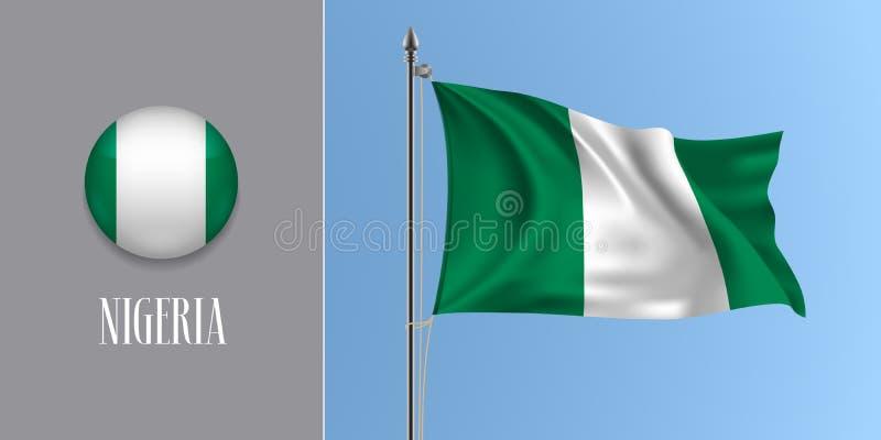 Bandera que agita de Nigeria en asta de bandera y el ejemplo redondo del vector del icono libre illustration
