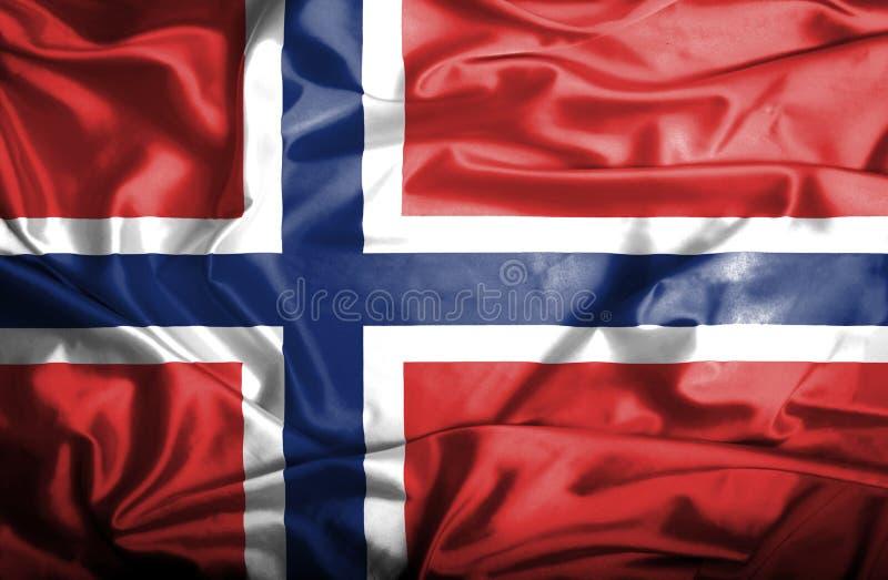 Bandera que agita de Noruega ilustración del vector