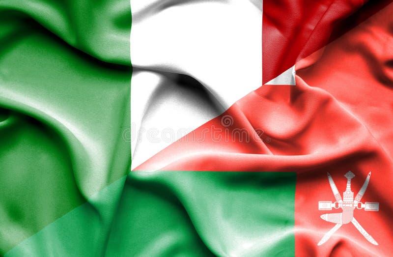 Bandera que agita de Omán y de Italia stock de ilustración
