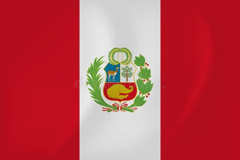 Bandera que agita de Perú ilustración del vector