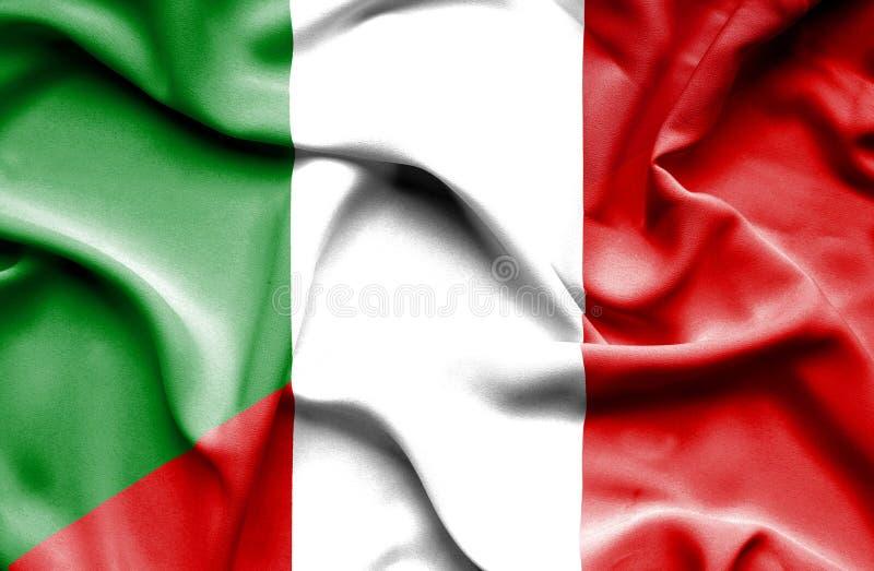 Bandera que agita de Perú y de Italia libre illustration