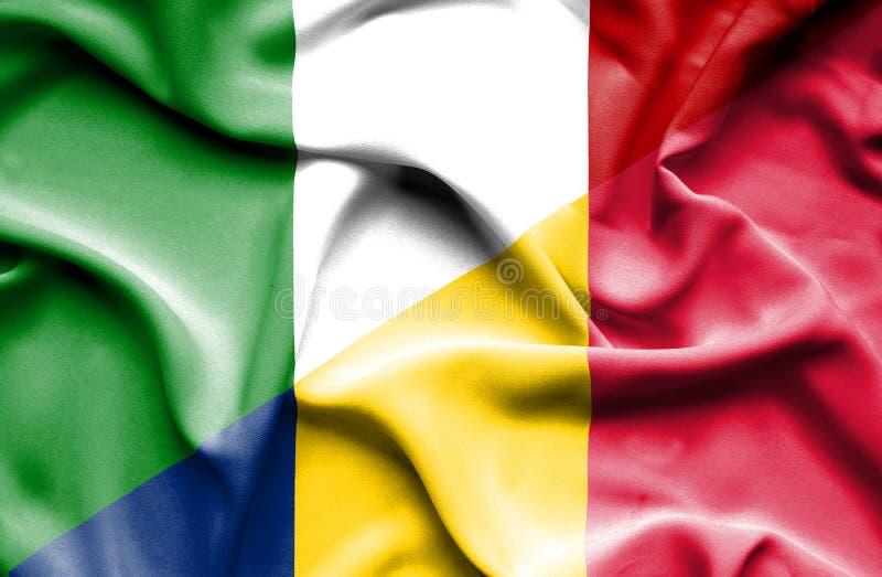 Bandera que agita de República eo Tchad y de Italia stock de ilustración