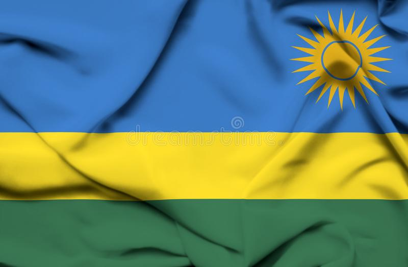 Bandera que agita de Rwanda ilustración del vector