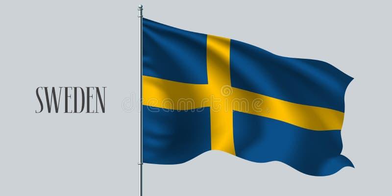 Bandera que agita de Suecia en el ejemplo del vector de la asta de bandera libre illustration