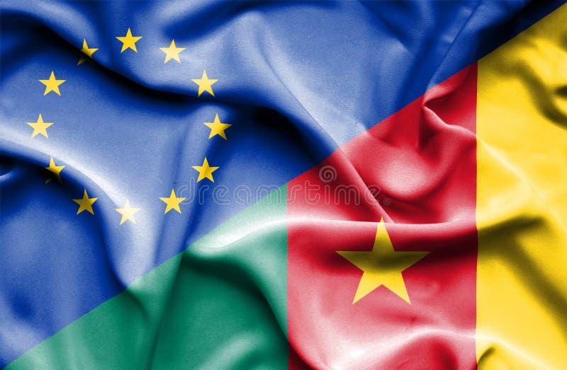 Bandera que agita del Camerún y de la UE fotografía de archivo libre de regalías